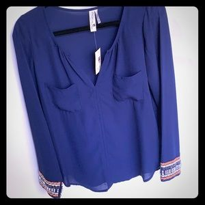 Pink Owl Navy Blue Blouse with beaded sleeves
